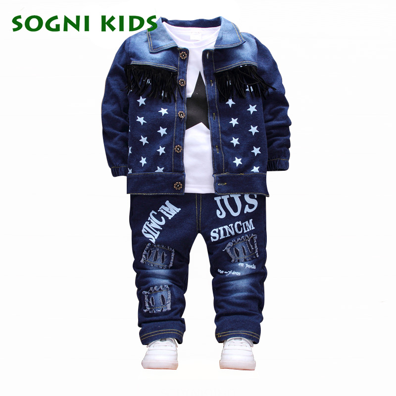 Fashion Autumn Boys Clothing Sets 2017 Denim Stars Boys Coat With T Shirt Holes Pants 3pcs Children Set For Kids Jacket Clothes