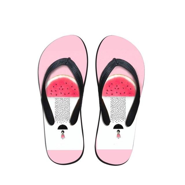 0470622b5a9a ELVISWORD Pink Watermelon Girls Design Flip Flops For Women Beach Cartoon  Cute Anti Slip Home Couple Shoes Bathroom Flats