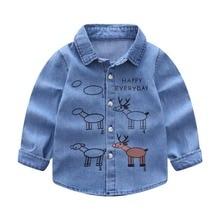 2017 Baby Kids Boys Girls Cowboy blue Long Sleeves cartton deer printing Shirt Tops Casual Clothes 2-6Y