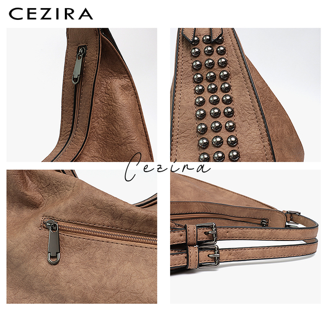 CEZIRA Brand Fashion Shoulder Bags for Women 2018 Designer Casual Big Tote Handbag Female Zipper Studs Pu Leather Ladies Purse 3