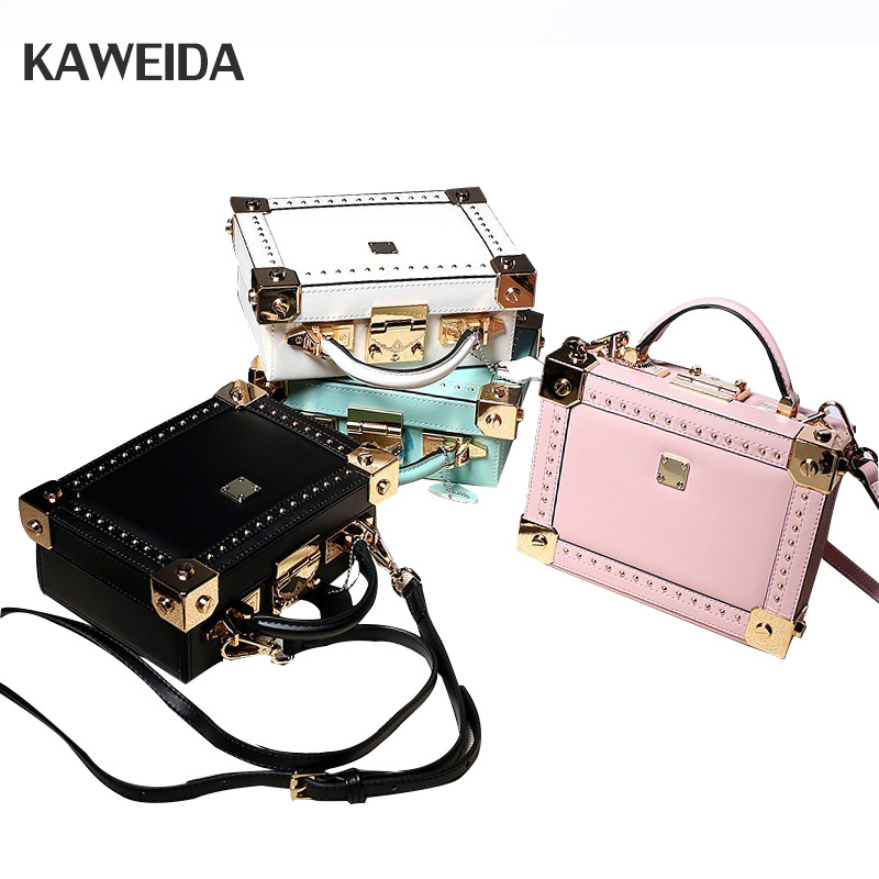 Fashion Crossbody Rivet Bag Genuine Leather Bags For Women Casual Small Box Shoulder Messenger Bags Candy Color Pink Mint Green femalee 2018 latest style women s shoulder bags 100% genuine sheepskin leather rivet crossbody bag fashion casual waist packs