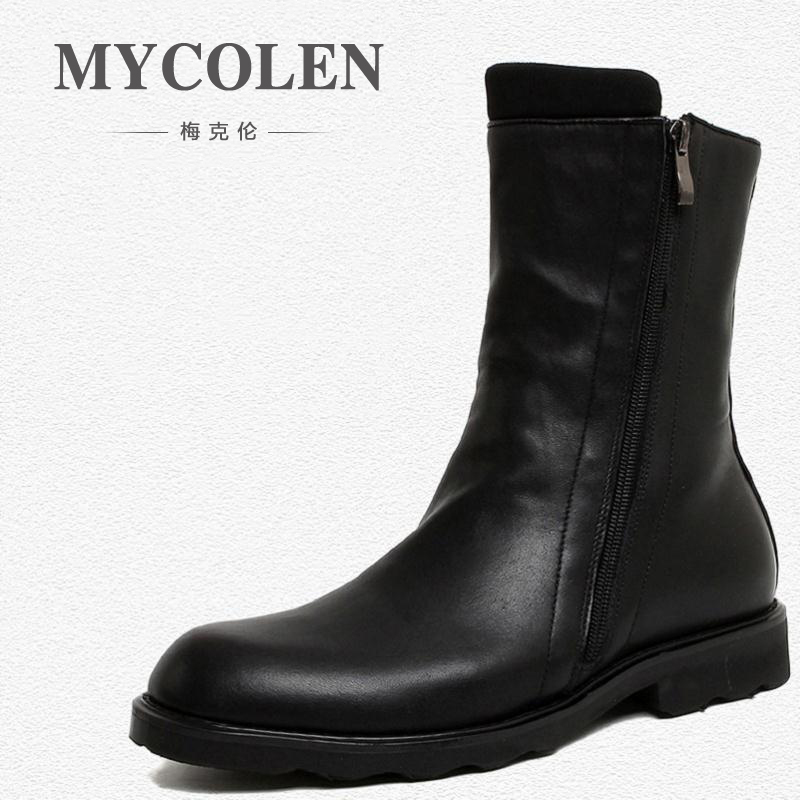 цена на MYCOLEN Brand Men High Quality Cow Split Leather Zipper Ankle Boots Size 38~44 Male Winter Leisure Party Retro Motorcycle Shoes