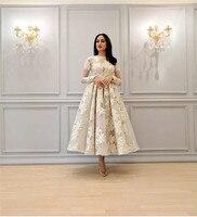 Dubai Muslim Short Evening Dress Lace Jewel Neck Full Sleeves Tea Length Formal Party Dresses Evening Gowns Vestidos