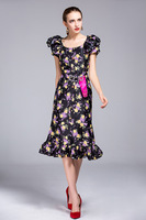 2017 Spring Summer New Style Retro Rose Printing Fishtail Dress Ruffled Lace O Neck Dress S