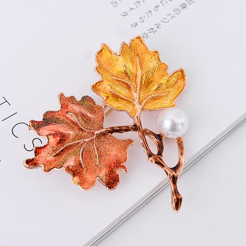 LUBOV Color Painted Maple Leaves Design Metal Brooch Pin Imitation Pearl Decoration Gold Color Brooches Pins Women Party Jewelry