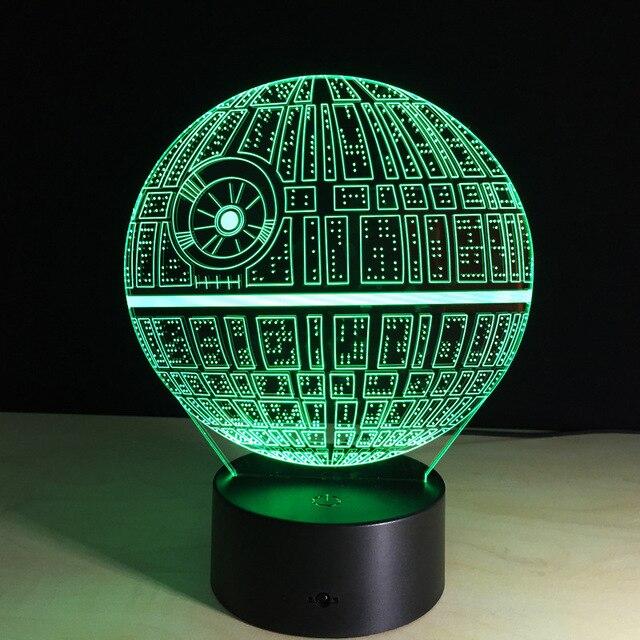 star wars todesstern bunte 3d lampe led acryl stereoskopischen touch licht lampe lum nacht lampe weihnachtsgeschenk - Star Wars Todesstern Lampe