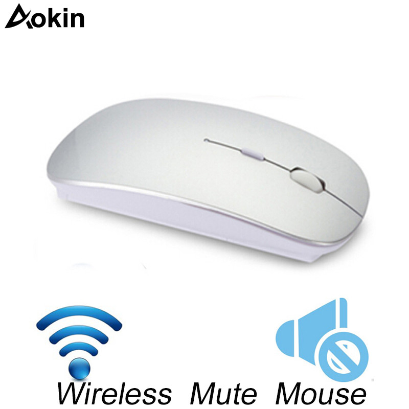 Aokin Mute Wireless Mouse Slient Button Ultra Thin Office Optical Mouse Slim 1600 Dpi Need Battery For Computer Laptop Quiet Good Heat Preservation