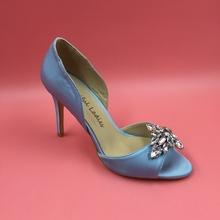 Light Blue Satin Wedding Shoes Pumps High Heels Pointed Toe Crystals Bridal Shoe Stilettos Blue Heels True to US Size 4-15