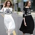 Новые 2017 Дизайнер Взлетно-Посадочной Полосы Шелка Dress женская Шею Вышивка Линии Slim Dress Black White Party Vestidos Бесплатно пояса