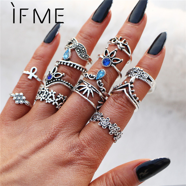 IF ME Bohemian Flower Ring Sets for Women Vintage Retro Silver Color Lotus Stone