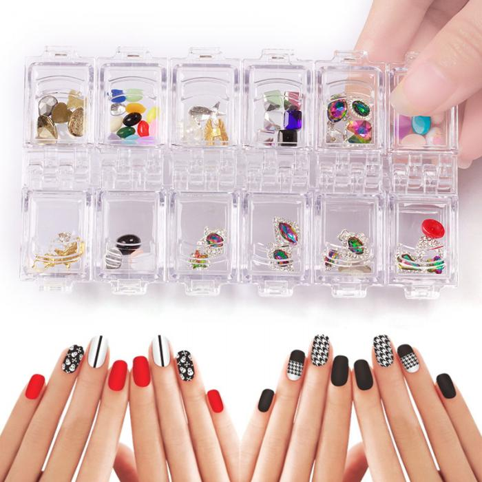 12 Grid Plastic Nail Tool Jewelry Storage Box Rhinestone Organizer