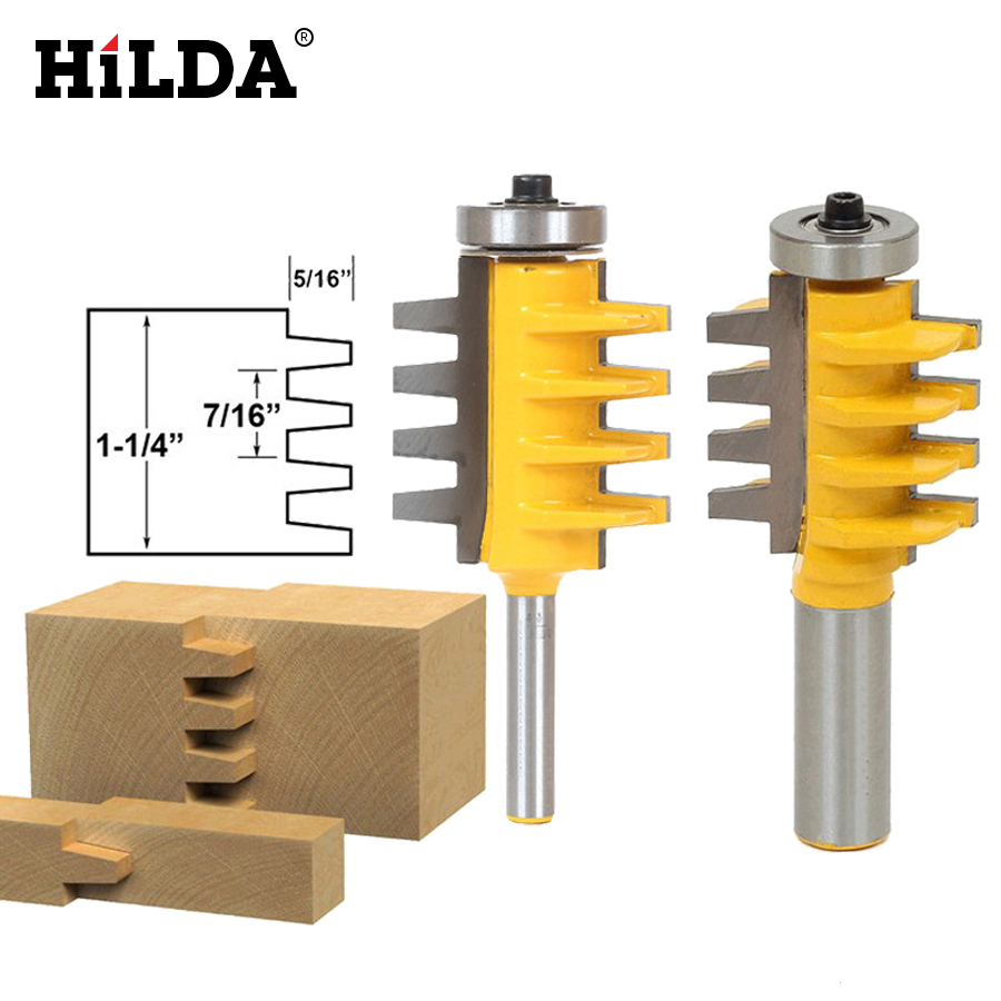 HILDA 1/2, 1/4 Shank Rail Reversible Finger Joint Glue Router Bit Cone Tenon Woodwork Cutter Power Tools Wood Router Cutter