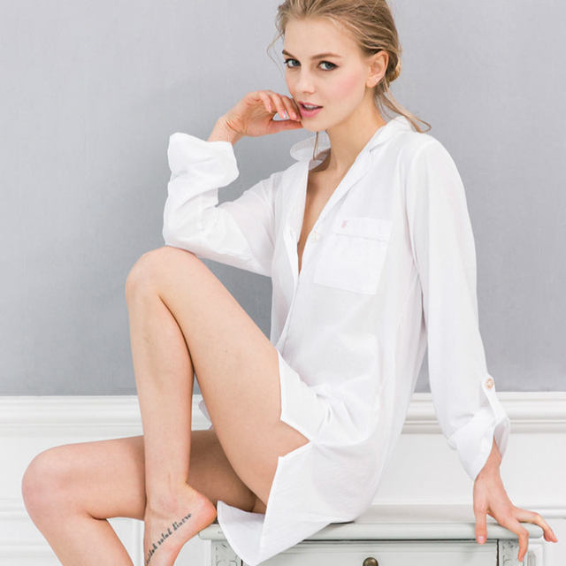 77421a8425 White Long Sleeve Cotton Nightgown Nightdress Female Summer Cotton  Nightgowns Clothes For Women Shirt Women s Night