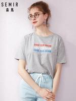 SEMIR футболка с короткими рукавами женская летняя свободная тонкая трендовая футболка Студенческая контрастная цветная футболка с принтом ...