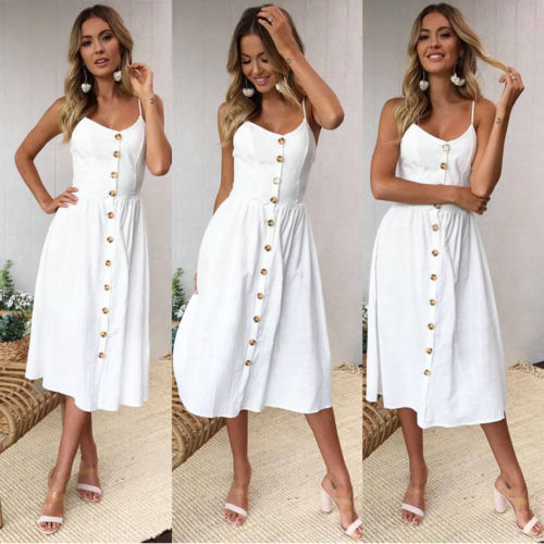 Summer Long Maxi Boho Button Up Dress