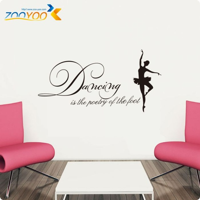 Dancing Is Poetry Of The Foot Wall Decals Ballet Dream Dancer Bedroom Wall Stickers Beautiful Girls Room Decor Art Wallpaper