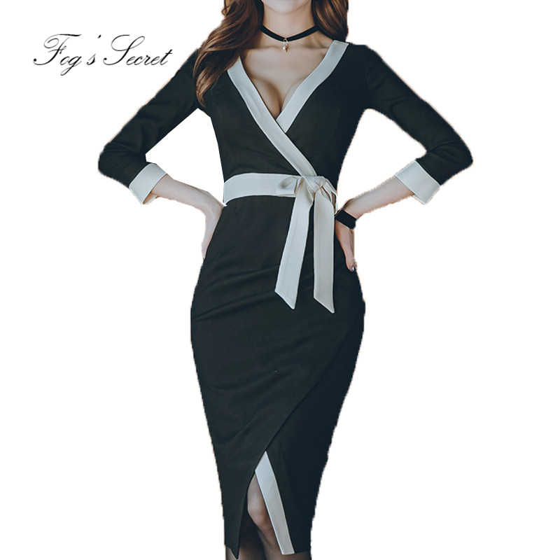 Detail Feedback Questions about Plus size black dress for women OL ...
