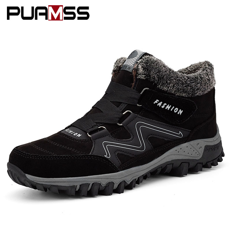 2019 Men Boots High Quality Winter Fur Warm Ankle Snow Boots Men Winter Rubber Work Boots Men Sneakers