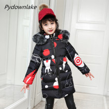 Children's Autumn/Winter Baby Girls Children Cotton Jacket with Fur Hooded Girls Winter Coat Winter Coat Girls outwear clothes недорого