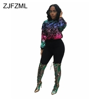 ZJFZML O Neck Shiny Sequins Sexy T Shirt Autumn Causal Long Sleeve Loose Shirt Women Club Tops poleras de mujer moda 2018