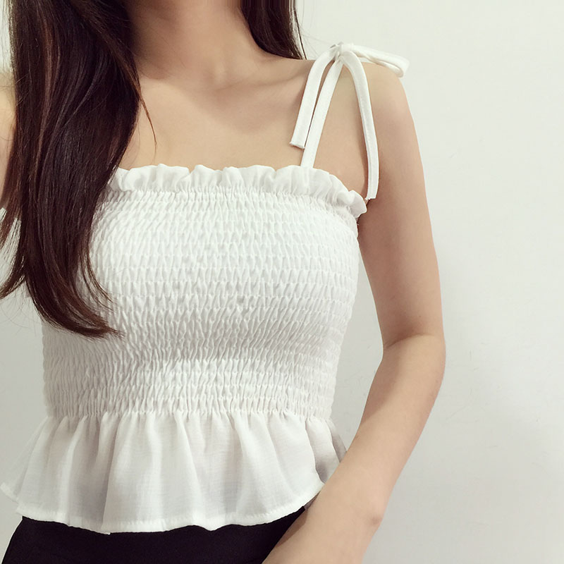 Women Strap Ruffles Pleated Sexy Off Shoulder Elastic Pleated Adjustable Strap Tank Vest Tube Tops Blouses Camisole Chic Summer
