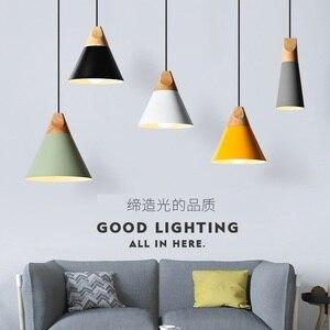 Image 2 - Eğim lambaları kolye ışıkları ahşap ve alüminyum restoran Bar kahve yemek odası oturma odası dekorasyon LED asılı aydınlatma armatürü