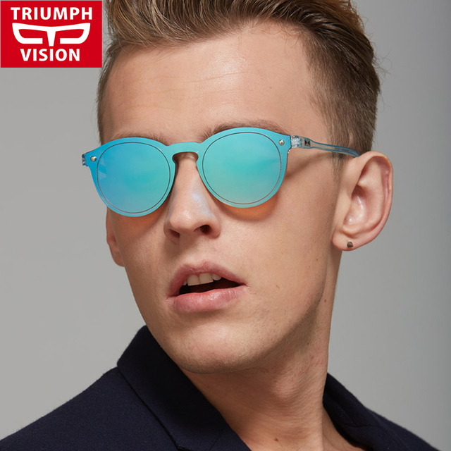 e5581fc7c84 TRIUMPH VISION Vintage Male Round Sunglasses Men Luxury Brand Mirror Round  Sun Glasses For Men Retro