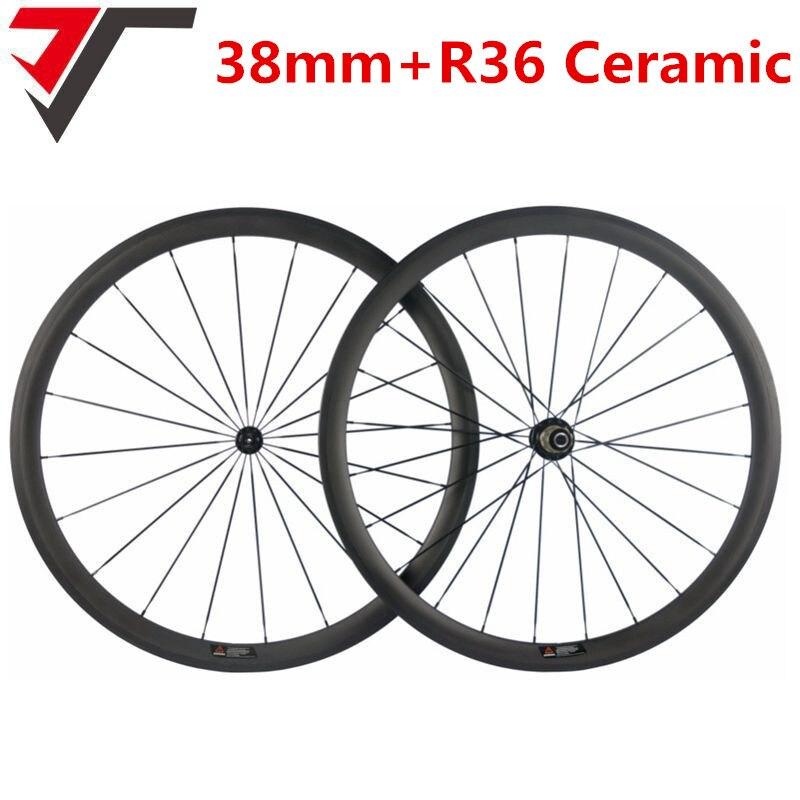 TRIPS Ceramic R36 hubs carbon road wheels 38mm clincher 700C carbon bike wheelset pillar 1420 bicycle
