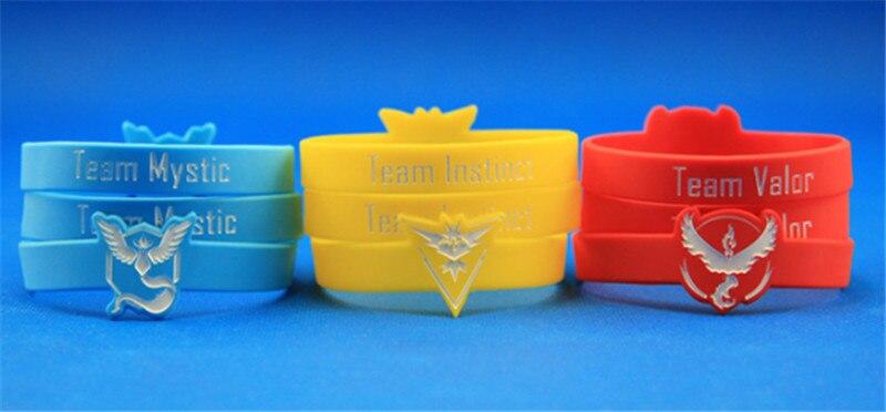 100 stks Pokemon Gaan Siliconen Armbanden Team Valor Team Instinct Team Mystic Team Werk Armband Pulseras Beste Cadeau-in Amulet armband van Sieraden & accessoires op  Groep 1