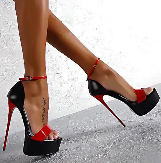 fccbf5bcbd2a9 ladies pumps summer sandals sexy pumps 16cm high heel shoes women heels  party Shoes strappy heels red white wedding shoes