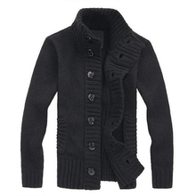 Hot Fashion Men's knit cardigan sweater thick sweater coat Korean Slim line casual jacket