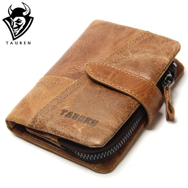 Tauren de lujo retro mujeres del cuero genuino de los hombres carteras de alta calidad de la marca de diseño de la cremallera cartera billetera para mujer bolsos de titular de la tarjeta