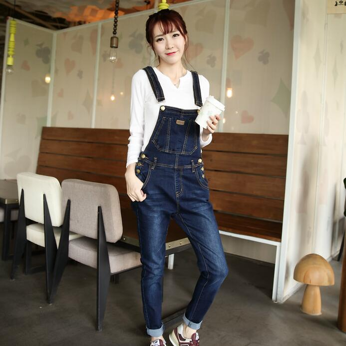 ФОТО Plus Size Women Denim Overalls New 2017 Ladies Bib Jeans Korean Fashion Preppy Style Bleached Garment Washed Free Shipping