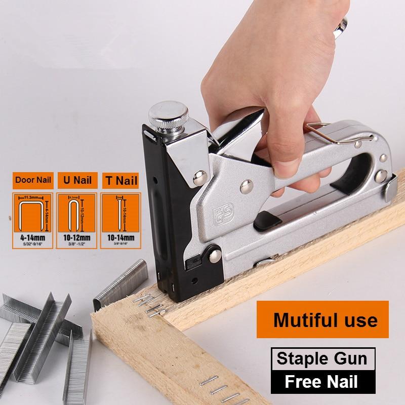 Multifunction Manual Nailer Wood Door Furniture Stapler Woodworking Upholstery Accessories Home Hand Tools