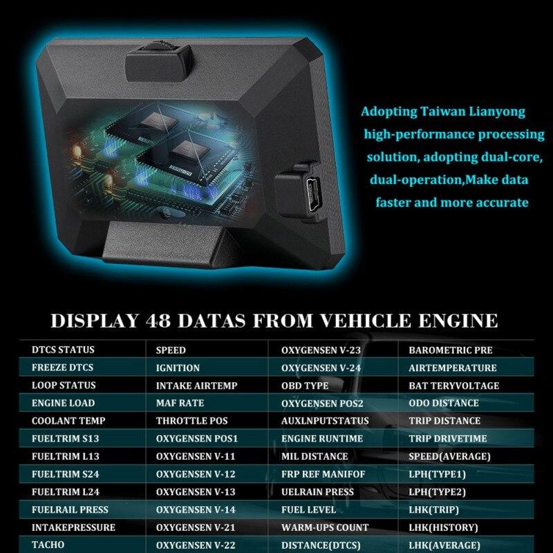 P16 3 Inch LCD HUD obd2 Car Head Up Display Auto Intelligent On Board Computer Car Speedometerhud Display Car Electronics New