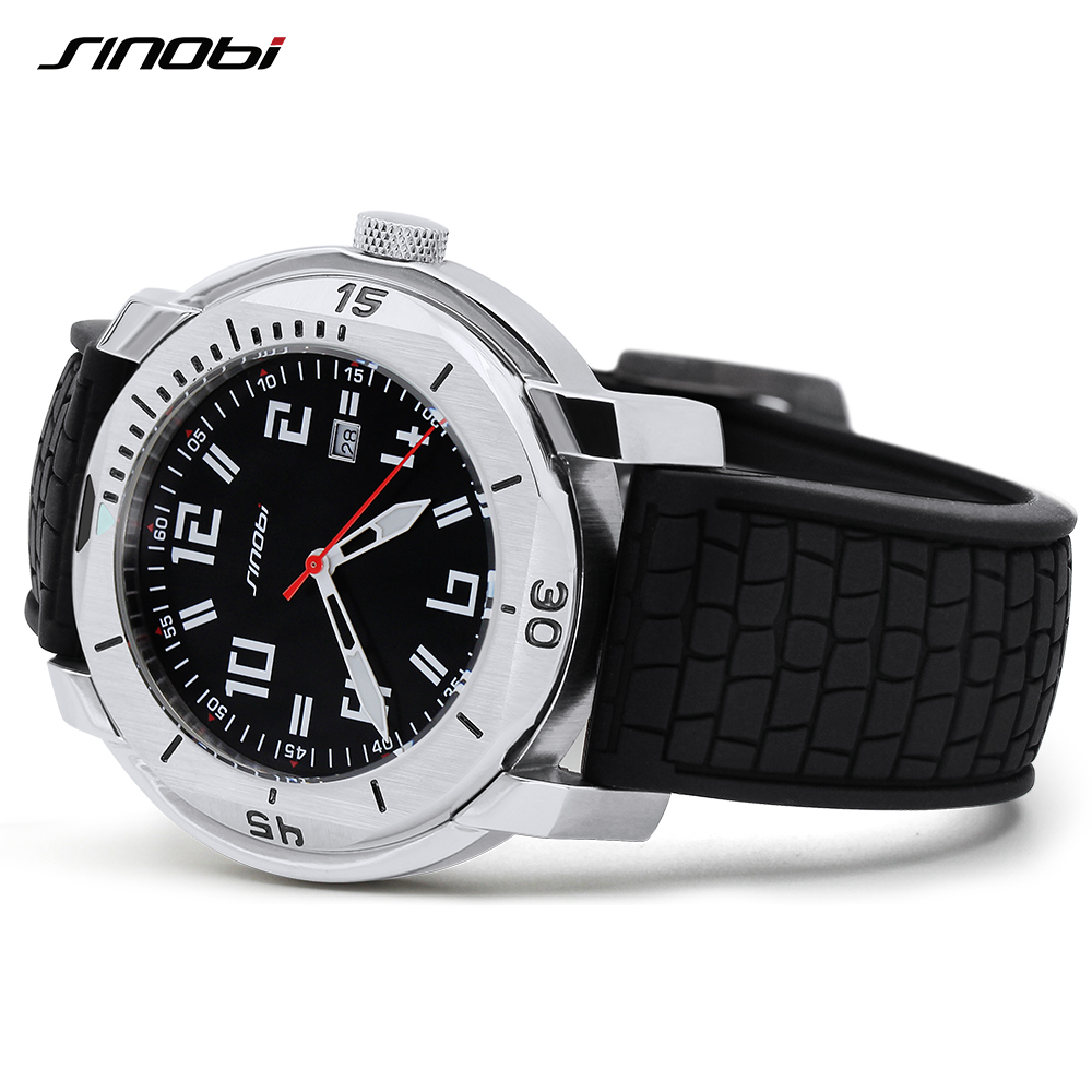 SINOBI Stainless Steel Mens Watches Military Soft Silicone Strap Calendar Sport Waterproof Wrist Watch For Men High Quality Hour