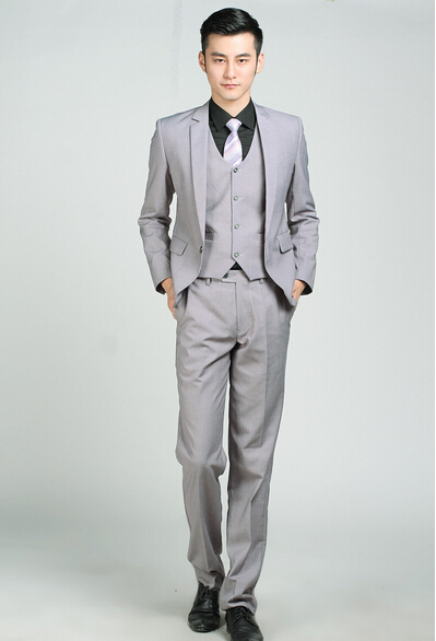 Wedding suit man light grey single button professional brand suits ...