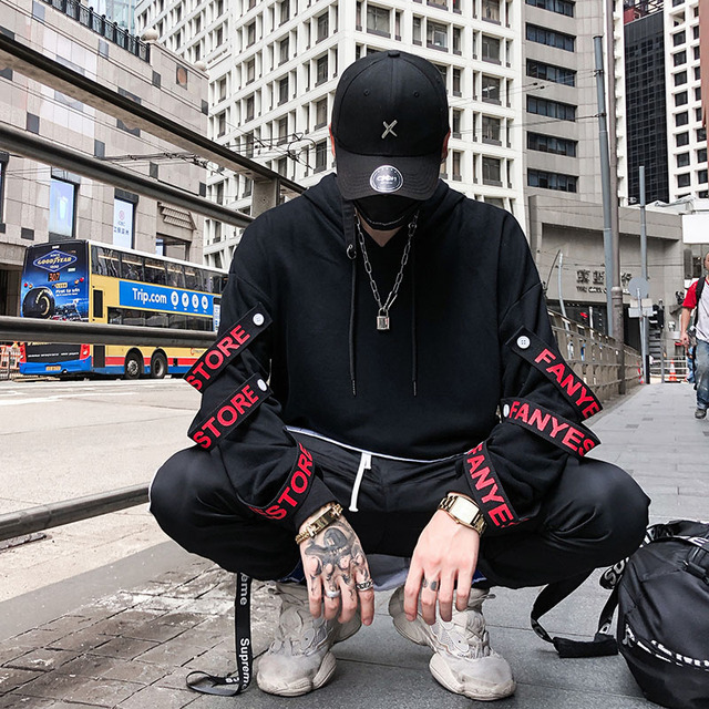 Aolamegs Hoodies Men Fake 2 Pieces Ribbons Hooded High Street Pullover Sweatshirt Men Fashion Hip Hop Streetwear Hoodie Autumn 1