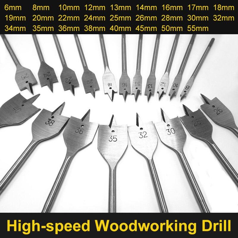 цена на HOEN 6-55mm Flat Drill Long High-carbon Steel Wood Flat Drill Set Woodworking Spade Drill Bits Durable Woodworking Tool Sets