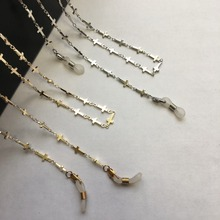 silver and gold electro plated eyeglass brass chains in cross shape