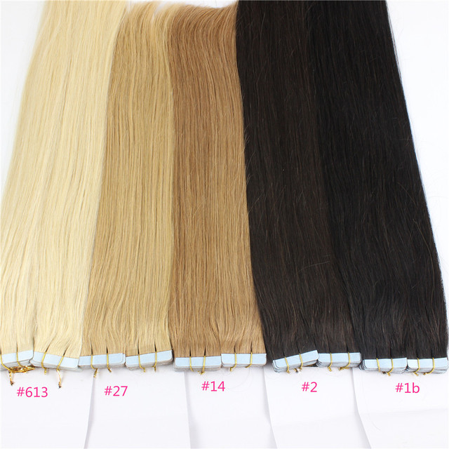 Straight Tape In Hair Extension Brazilian Human Virgin,20 Color 613 Blonde Dark Root Ombre,PU Skin Weft Remover Glue Gold Faith