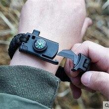 Военный аварийный плетеный браслет для выживания для мужчин и женщин Паракорд для отдыха на природе спасательная Веревка Браслеты компас свисток нож 4 в 1