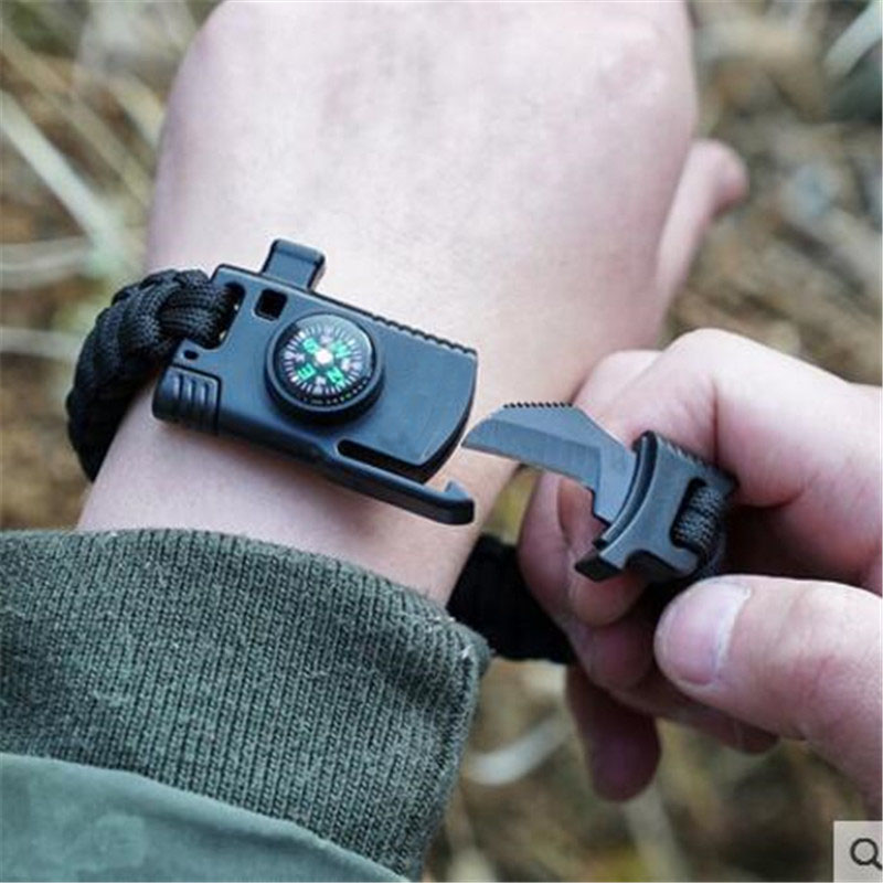 Military Emergency Braided Survival Bracelet Men Women Paracord Outdoor Camping Rescue Rope Bangles Compass Whistle Knife 4 in 1