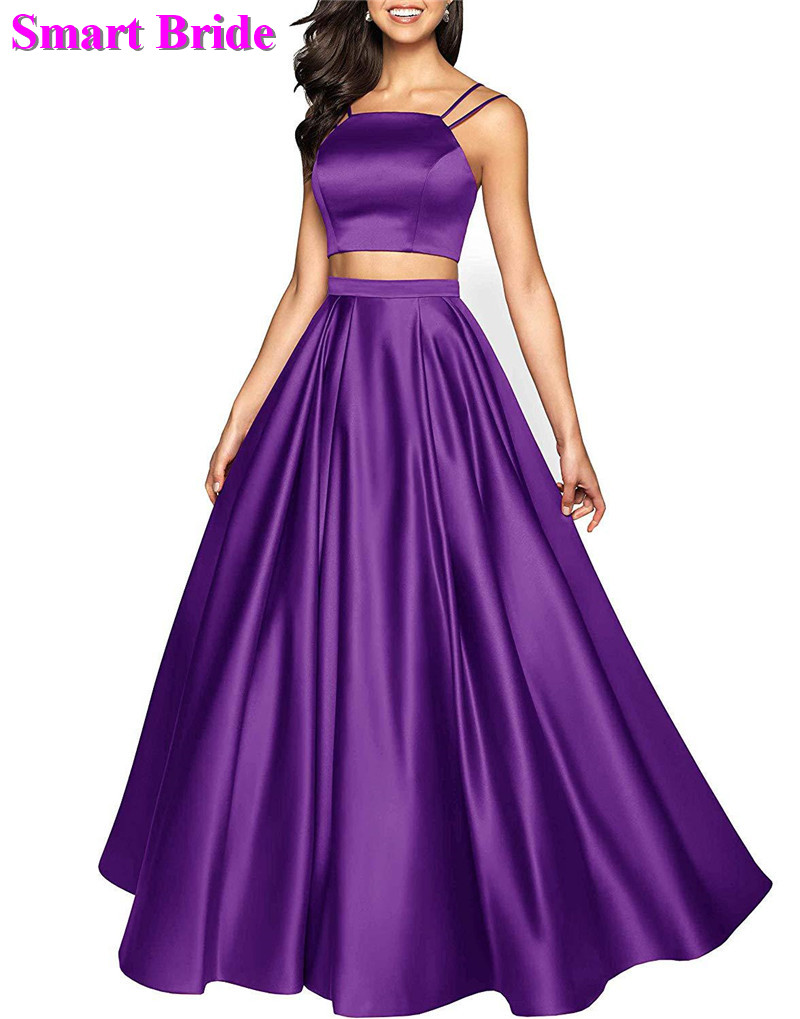Two Pieces   Prom     Dresses   Floor Length Long A Line Satin Bridesmaid Elegant Gowns For Women 2019 PD80