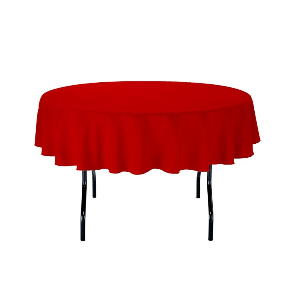 HK DHL Stain Feel 70 inch/180cm Polyester Round Tablecloth Red for Wedding, 5/Pack