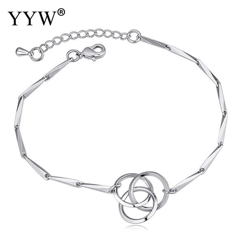 Brass Jewelry Simple Bracelet Sliver Plated Intersecting Round For Woman Charm Bracelet With 4cm Extender Chain