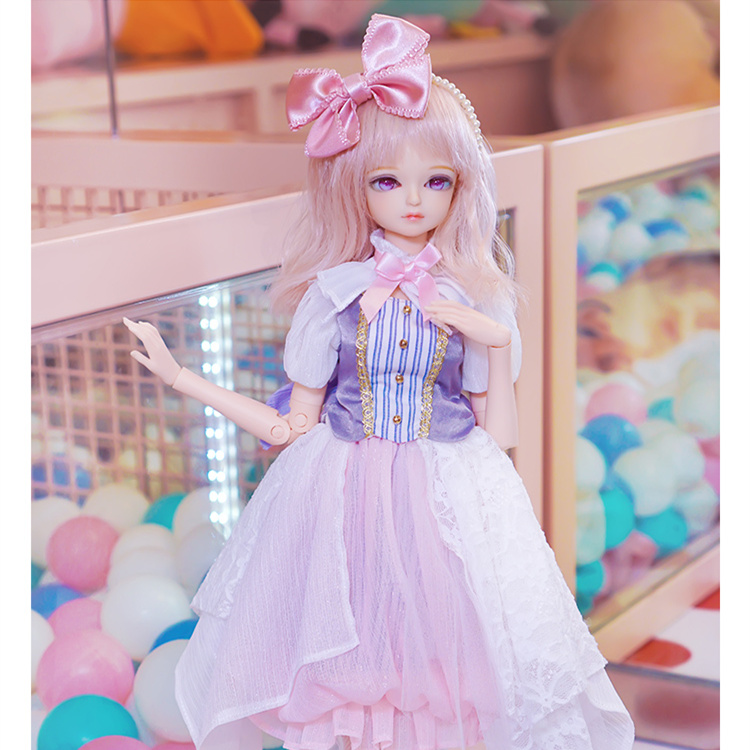 free shipping fortune days 1 4 bjd doll 45cm pink hair candy dress with bows white