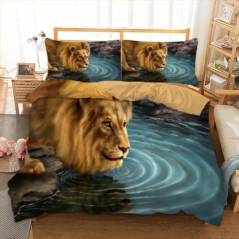 Dropshipping 3d lion drink water Bedding set polyester Duvet Cover Bed Set Single Twin queen king size home textile