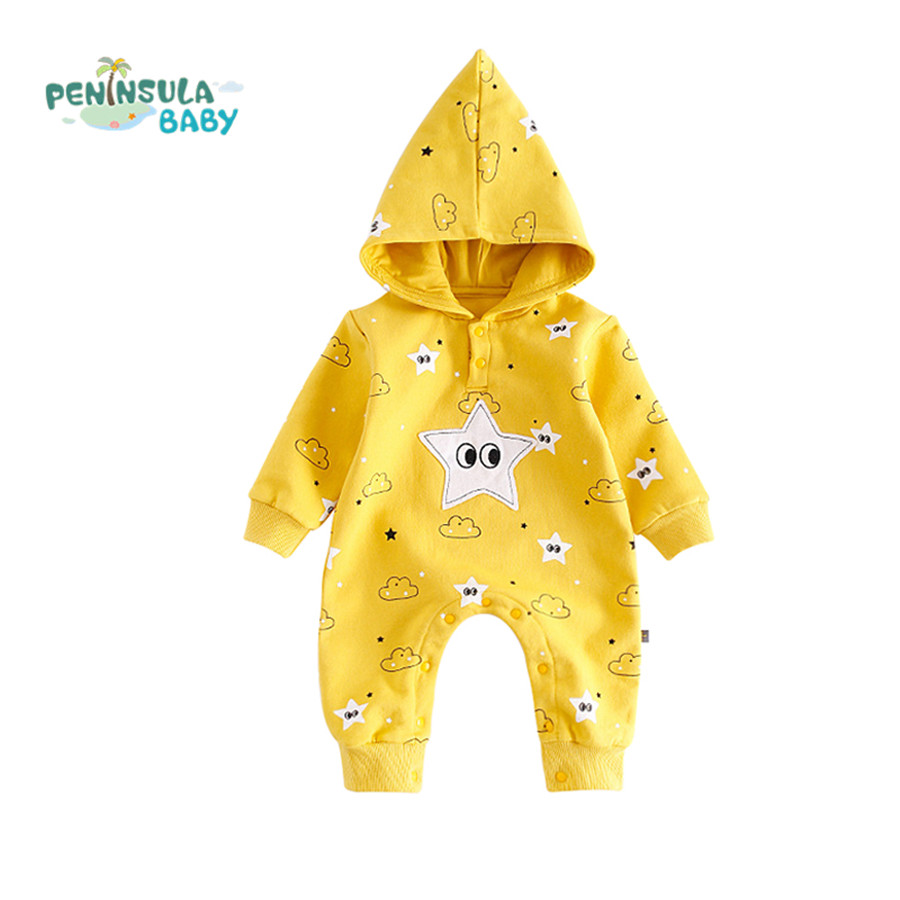 Cartoon Star Hooded Baby Rompers Warm Boys Girls Clothes Long Sleeve Jumpsuit Infant Outfits Toddler Newborn Outerwear Body Suit maggie s walker baby rompers outfits boys long sleeve banana luxury organic cotton climb clothes toddler girls roupa infantil