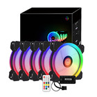 New RGB PC Fan 12V 6 Pin 12cm Cooling Cooler Fan with Controller for Computer Silent Gaming Case EM88